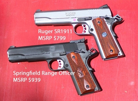 The Ruger SR1911 and the Springfield Range Officer side by side view
