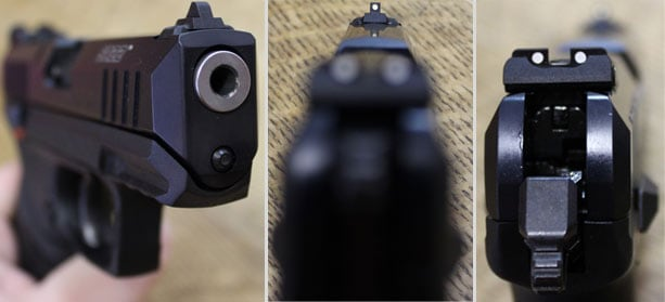 Ruger SR22 sights and muzzle.