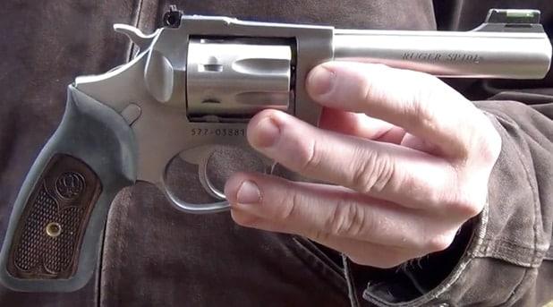 ruger sp101 in a mans hands