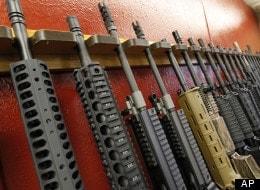 A rack of AR-style rifles.