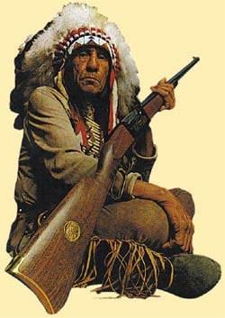 Chief Lame bear with savage rifle.