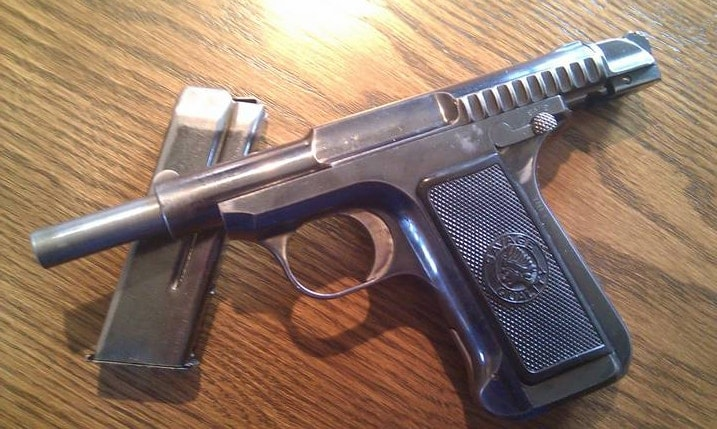 The Savage Model 1907 semi auto pistol with an open slide