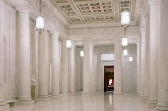 empty marbled courtroom halls