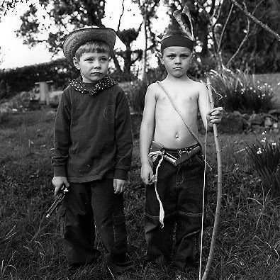 kids playing cowboys and indians