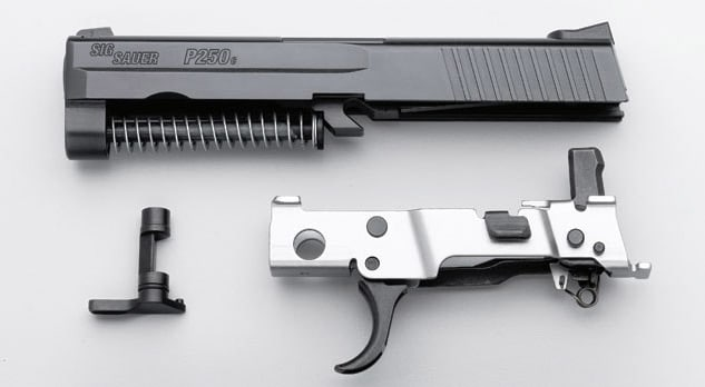 parts from a stripped sig sauer p250