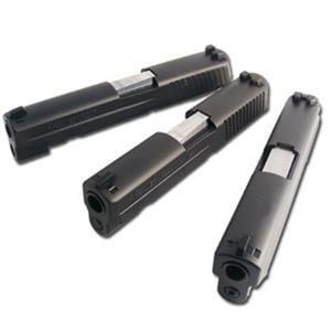 top view of 3 sig sauer p250 handguns
