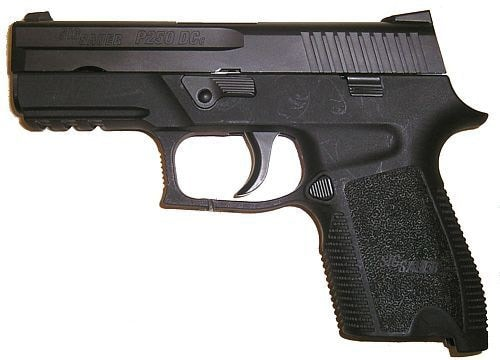 black sig sauer p250 facing left