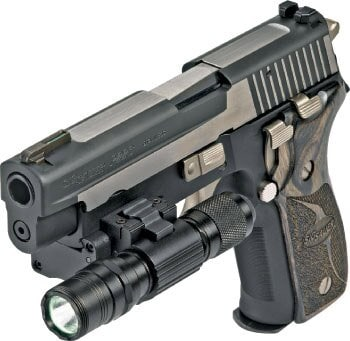 sig sauer p250 with scope and other accessories