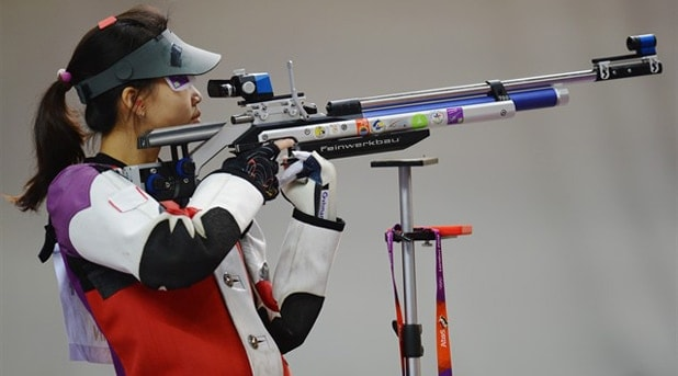 Chinese shooter and gold medalist Silling Yi during the match.