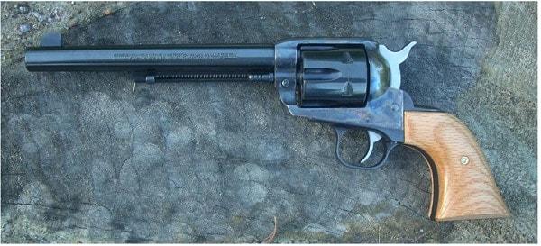 revolver with a long barrel