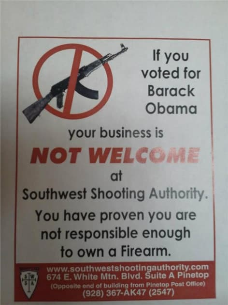 Southwest Shooting Authority's sign to Obama voters