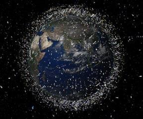 rendering of space debris around earth