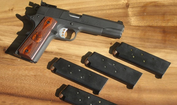 The Springfield Range Officer with four full magazines.