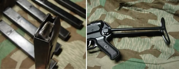 Magazines, left, and the folding stock of the SSR MP40.