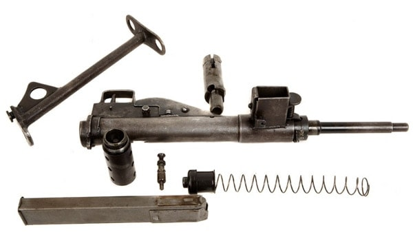 disassembled sten gun