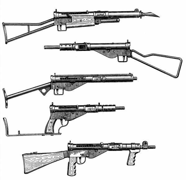 drawing of sten guns