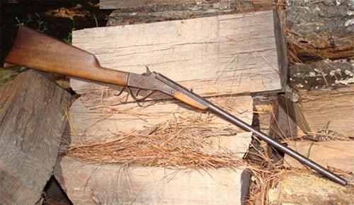 Stevens Maynard .22 LR Rifle leaning against a stack of logs.
