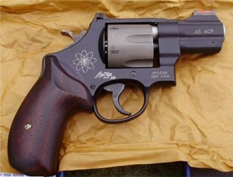 Smith & Wesson 325PD on a crumpled piece of paper.