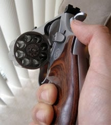 S&W Model 627 V-Comp holds eight rounds in its cylinder.