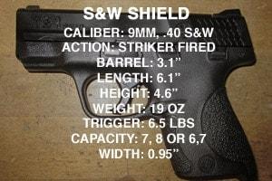 S&W Shield specs.