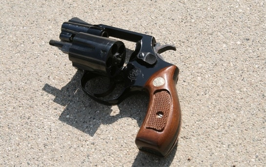Smith & Wesson Model 37 with an open cylinder.