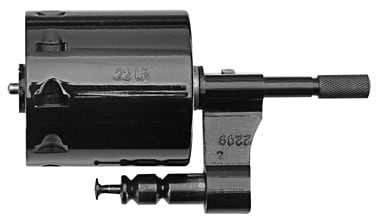 A Taurus 992 Tracker cylinder chambered for .22 LR.