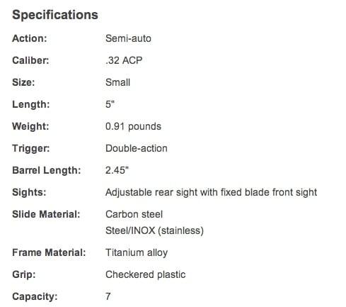 Beretta 3032 Tomcat .32 ACP Tip Up Barrel Specs