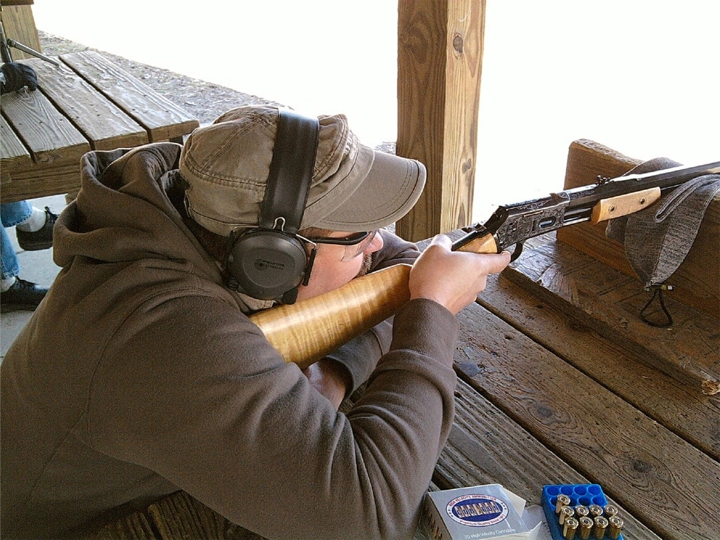 Shooting the USFA Lightning chambered in .45 Colt at a bench.