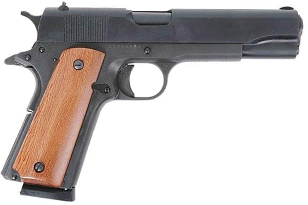 handgun with wooden grip