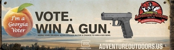 "Adventure Outdoors Promotion: ""Vote. Win a gun."""