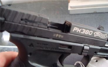 The Walther PK380 with an open slide