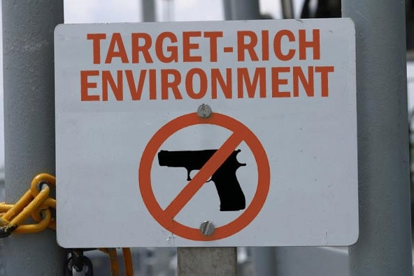 Gun Free zone sign.