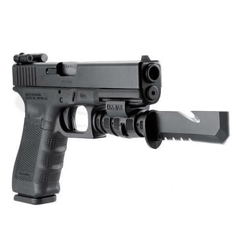 Glock handgun with pistol bayonet and night sights.