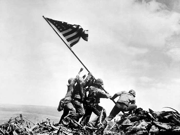 Joe Rosenthal's Iconic Photograph of the 2nd Flag Raising at Iwo Jima