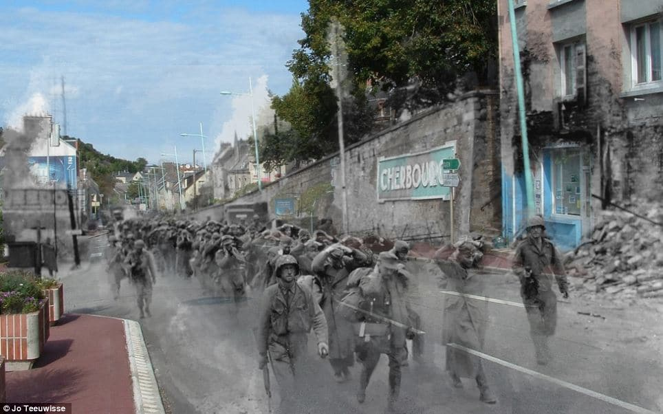German prisoners of war are marched through the north-western French city by American soldiers