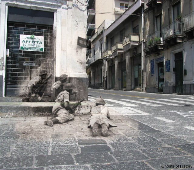 Acireale, Sicily, 1943 Ten miles North of Catania two British Bren gunners and their assistants cover a street corner on the Via Vittorio Emmanuele II in Acireale.