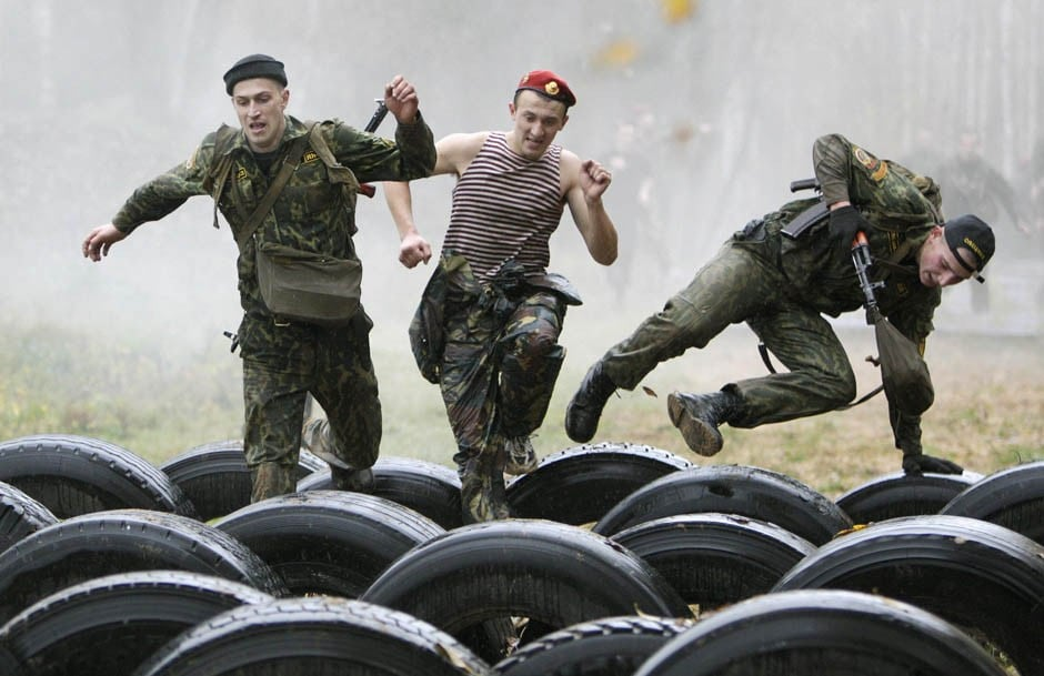 Servicemen from the Interior Ministry's special unit take part in a test near the village of Gorany