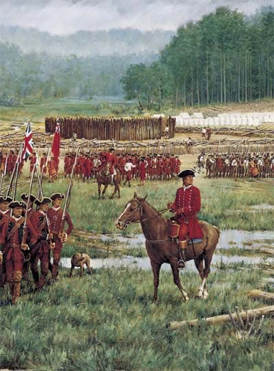 George Washington at Fort Necessity in Fayette County, Pennsylvania.