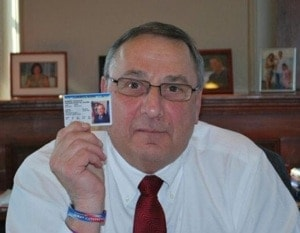 Gov. Paul LePage proudly shows of his CCW permit.