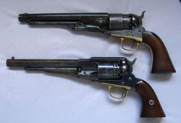 Top: Model 1860 Colt Army; Bottom: New Model 1858 Remington Army Revolver.