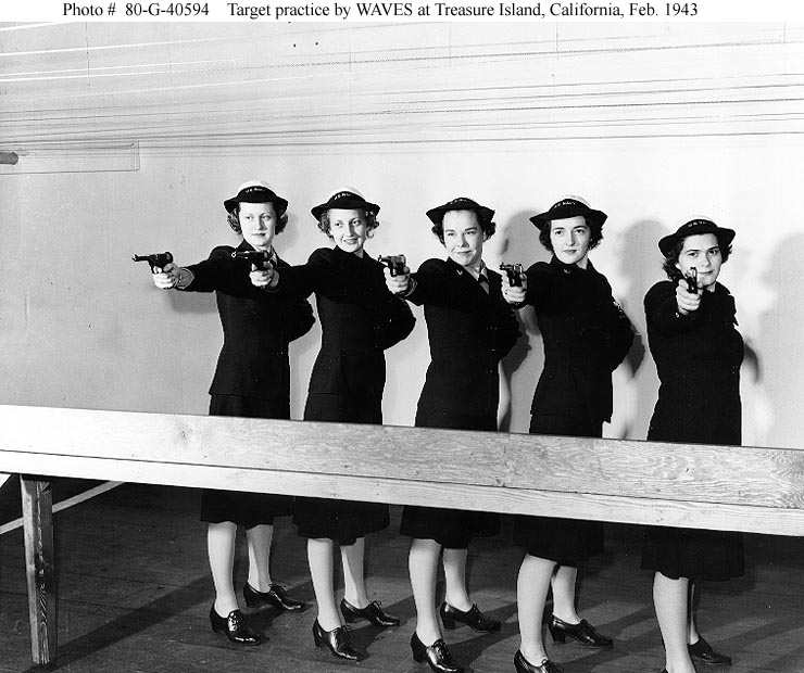 WAVES in 1943 practicing with HS Pistols