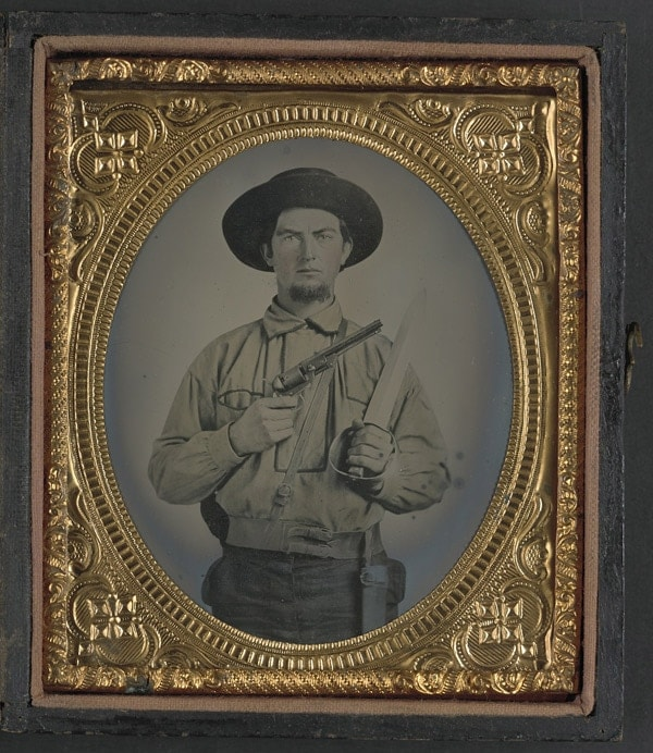Confederate soldier with Colt Navy Revolver.