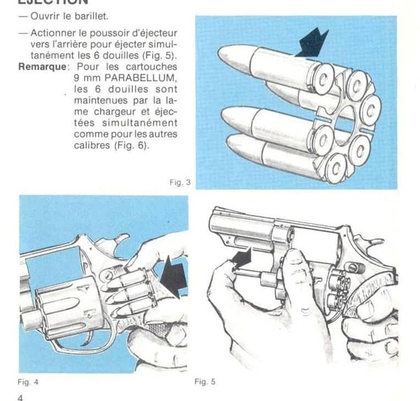 FN Barracuda 9mm reloading procedure with moon clip (well, in French).