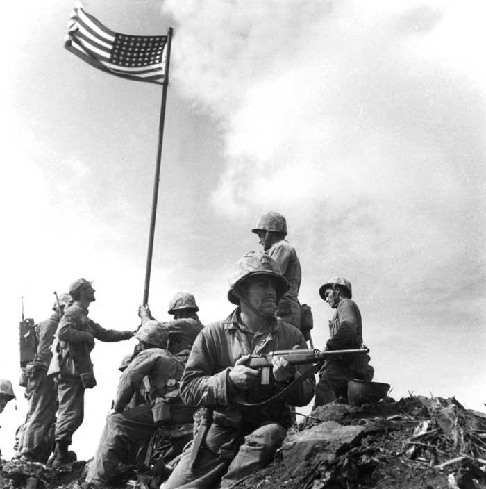 Lou Lowery Photograph of the First Iwo Jima Flag Raising