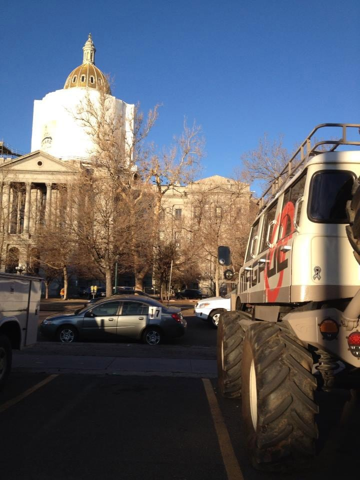 The Magpul van parked outside the Colorado statehouse