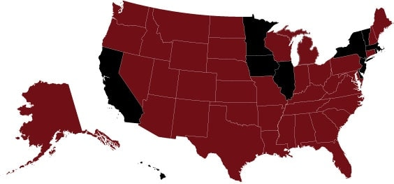 The states marked in red allow the legal use of silencers.