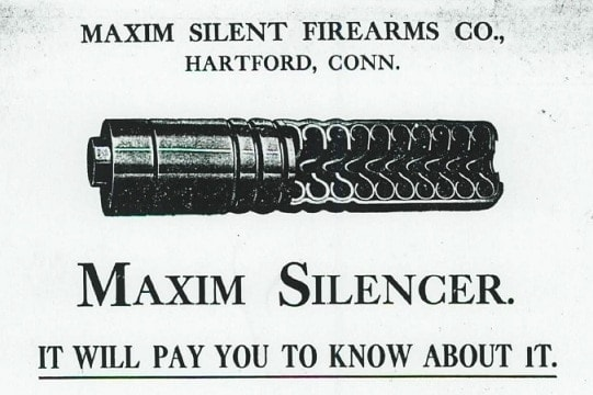 An early silencer, built by Hiram Maxim.
