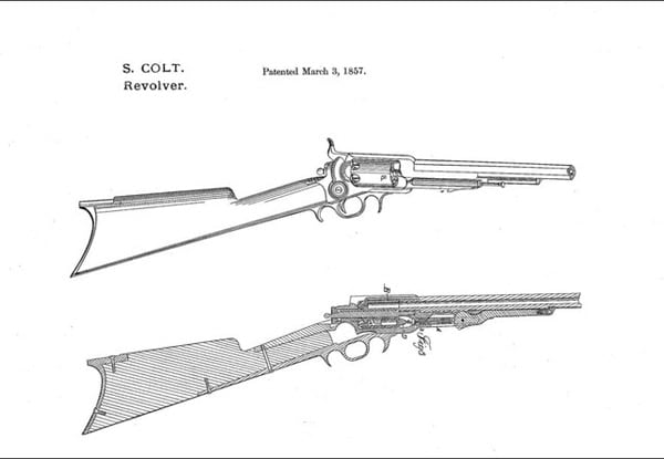 Patent drawings for the Colt revolving rifle