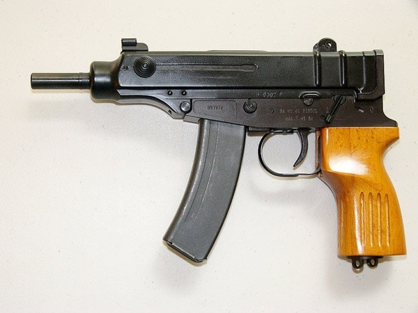 Semi-automatic Czech Skorpion without stock and select fire switch.