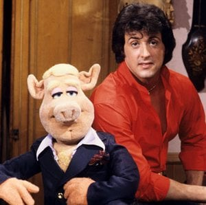 Stallone (on left) on the set of The Muppet Show.